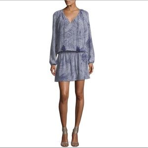 Ramy Brook blue white tassel tie London dress M